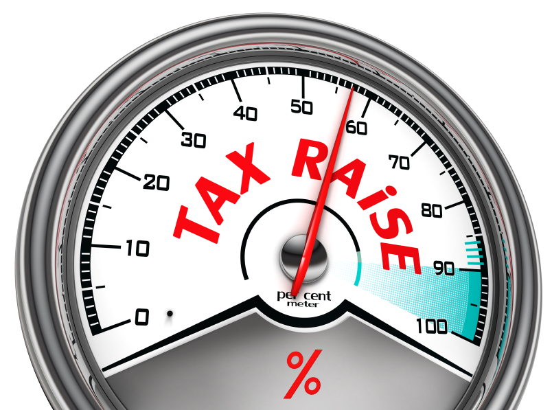Clipart of Speedometer saying tax raise with arrow increasing