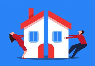 Illustration of house split in two with couple on each side pulling it apart