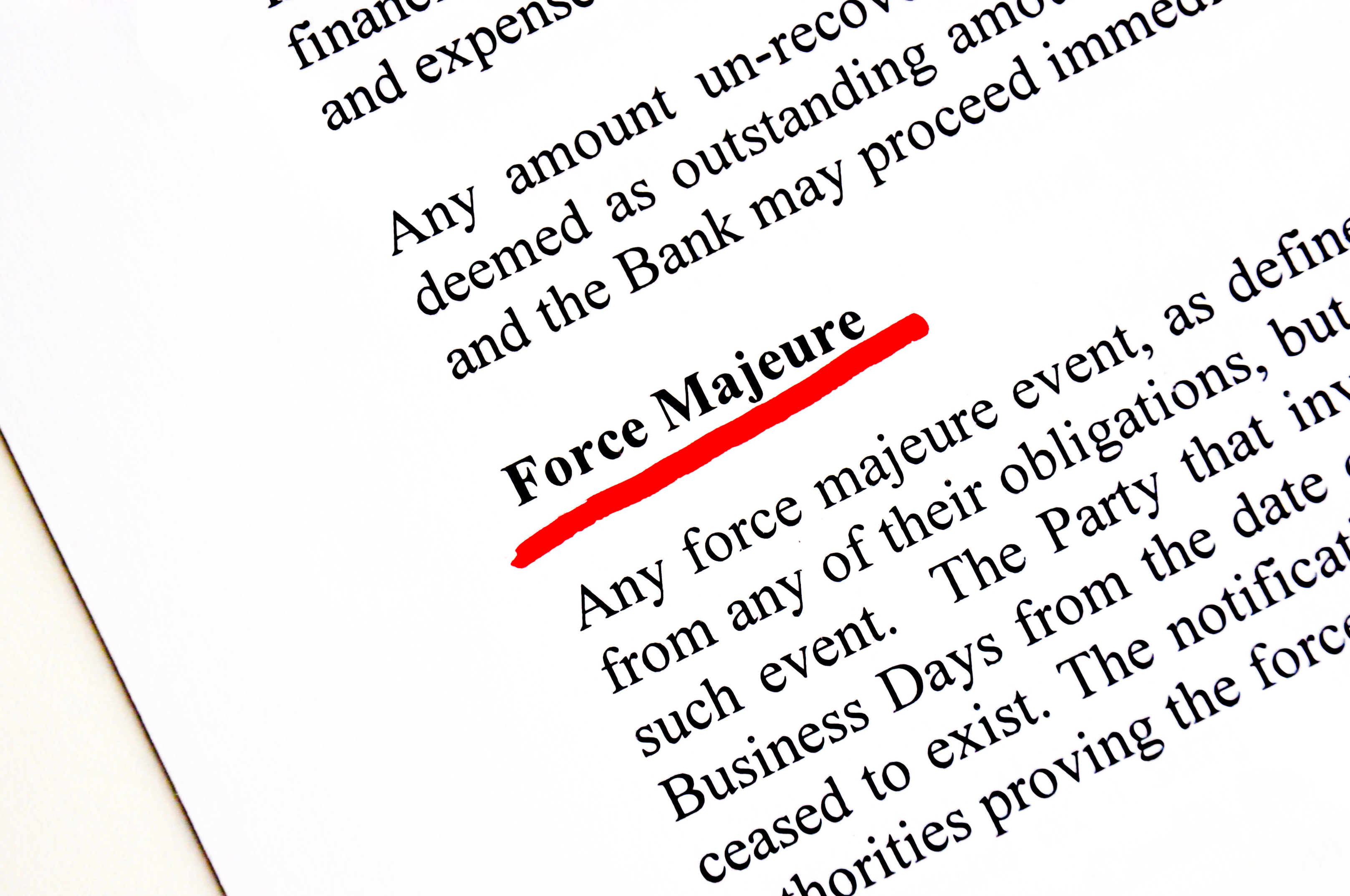 Photo of dictionary definition of 'force majeure