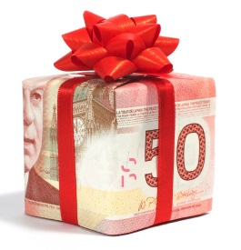 Gift box wrapped in a $50 Canadian bill