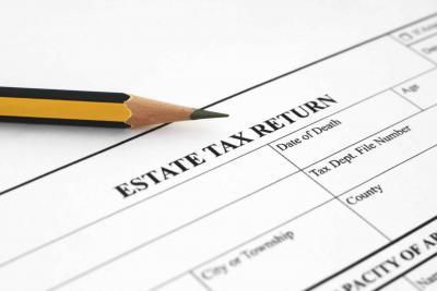 Printed document 'Estate Tax Return' across top